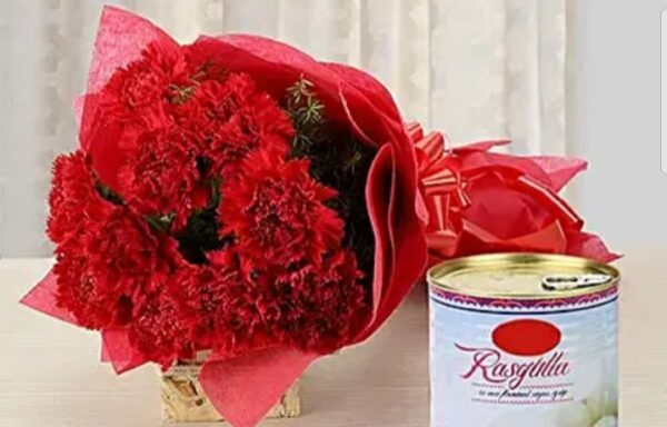 Red carnation bunch with White rasgulla (code:150)