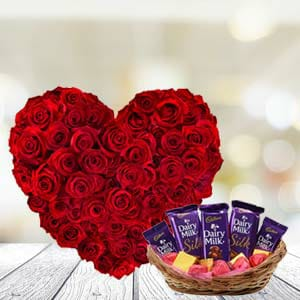 Amazing Red rose bouquet with Yummy cadbuary chocolates  (code:132)