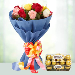 10 colourful roses bunch with ferrero rocher ( code:117)