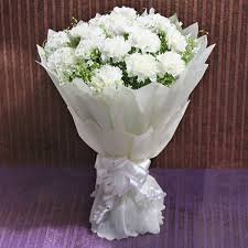 White Carnation bouquet (code:28)