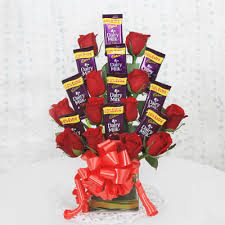 chocolate bouquet with roses for perfume day (code:271)